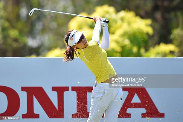 Jenny Shin of South Korea plays a shot during day two of the 2016 Honda LPGA Thailand at Siam Country Club on February 26 2016 in Chon Buri Thailand