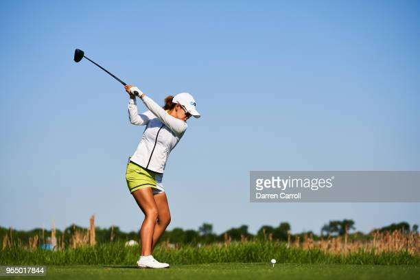 Jenny Shin of South Korea plays a tee shot at the ninth hole during the continuation of the first round of the 2018 Volunteers of America LPGA Texas...