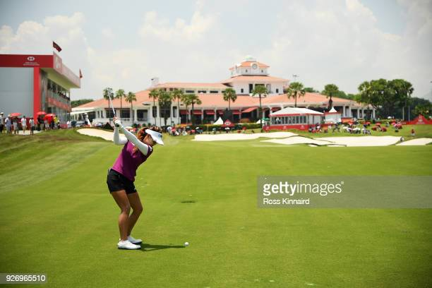 Jenny Shin of South Korea plays her second shot on the 18th hole during the final round of the HSBC Women's World Championship at Sentosa Golf Club...