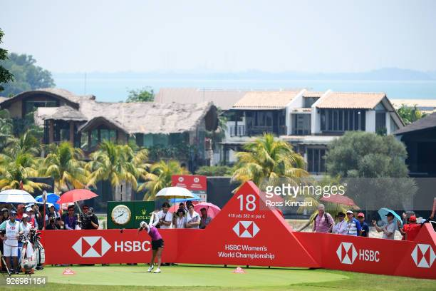Jenny Shin of South Korea plays her shot from the 18th tee during the final round of the HSBC Women's World Championship at Sentosa Golf Club on...