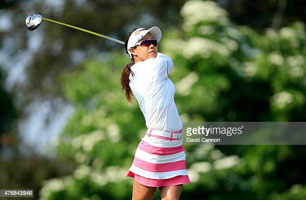 Jenny Shin of South Korea plays her tee shot on the par 4 11th hole during the second round of the 2015 KPMG Women's PGA Championship on the West...