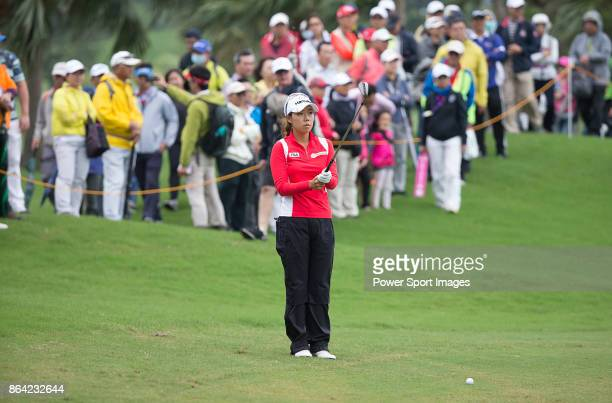 Jenny Shin of South Korea prepares to hit a shot on the 18th hole during day three of the Swinging Skirts LPGA Taiwan Championship on October 21 2017...
