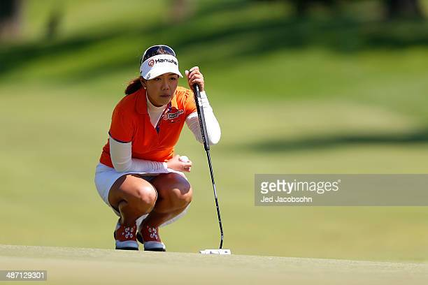 Jenny Shin of South Korea putts from 5 during the Final Round of the Swinging Skirts LPGA Classic at the Lake Merced Golf Club on April 27 2014 in...