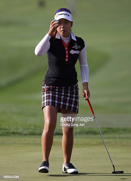 Jenny Shin of South Korea reacts after a shot during the second round of LPGA KEBHanaBank Championship at Sky 72 Golf Club Ocean Course on October 19...