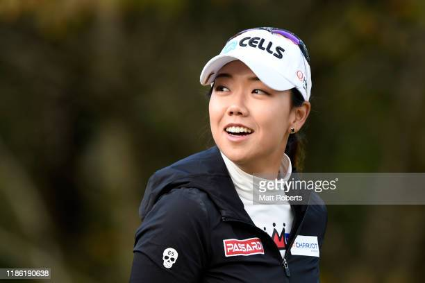 Jenny Shin of South Korea smiles after her tee shot on the 2nd hole during the first round of the TOTO Japan Classic at Seta Golf Course North Course...