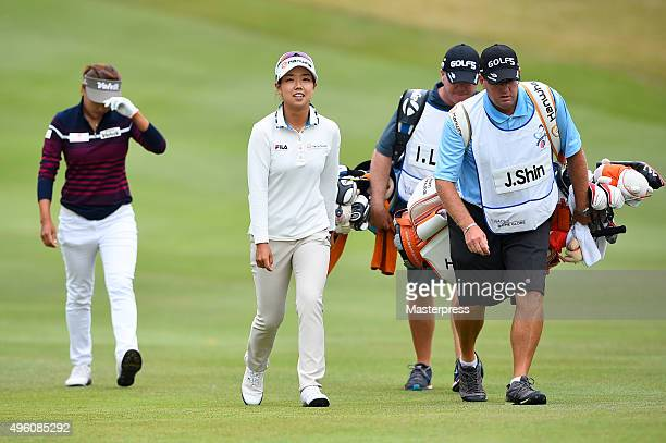 Jenny Shin of South Korea smiles during the second round of the TOTO Japan Classics 2015 at the Kintetsu Kashikojima Country Club on November 7 2015...