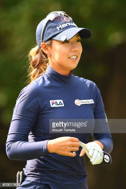 Jenny Shin of South Korea smiles during the second round of the TOTO Japan Classics 2017 at the Taiheiyo Club Minori Course on November 4 2017 in...
