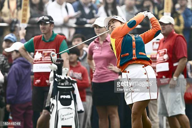 Jenny Shin of South Korea tees off during the final round of the Reignwood LPGA Classic at Pine Valley Golf Club on October 6 2013 in Beijing China