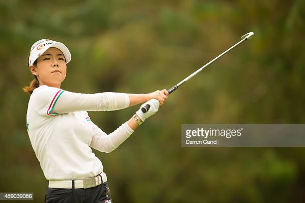Jenny Shin of the United States plays a tee shot at the third hole during the third round of the 2014 Lorena Ochoa Invitational presented by Banamex...