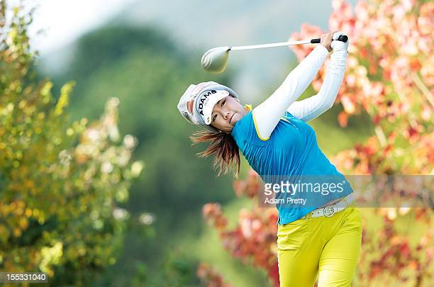 Jenny Shin of USA plays a shot during the second round of the Mizuno Classic at Kintetsu Kashikojima Country Club on November 3 2012 in Shima Japan