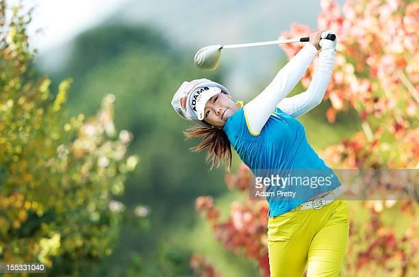 Jenny Shin of USA plays a shot during the second round of the Mizuno Classic at Kintetsu Kashikojima Country Club on November 3 2012 in Shima Japan