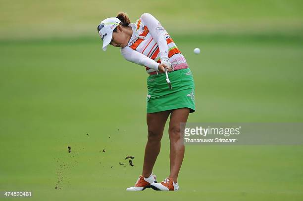 Jenny Shin of USA plays her shot during the fourth round of the Honda LPGA on February 23 2014 in Chonburi Thailand