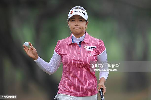 Jenny Shin of USA plays the shot during the second round of the Honda LPGA at Siam Country Club Pattaya on February 21 2014 in Chonburi Thailand