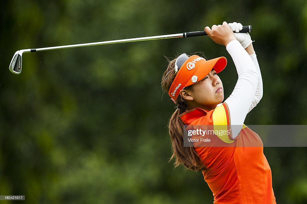 Jenny Shin of USA tees off on the 12nd hole during day three of the Honda LPGA Thailand at Siam Country Club on February 23, 2013 in Chon Buri, Thailand.