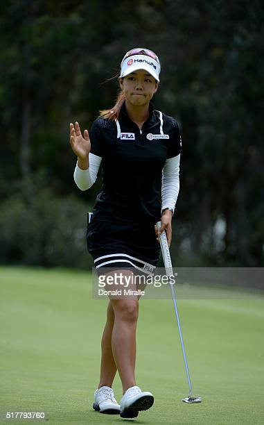 Jenny Shin reacts to her birdie putt on the first hole during the final round of the KIA Classic at the Park Hyatt Aviara Resort on March 27 2016 in...