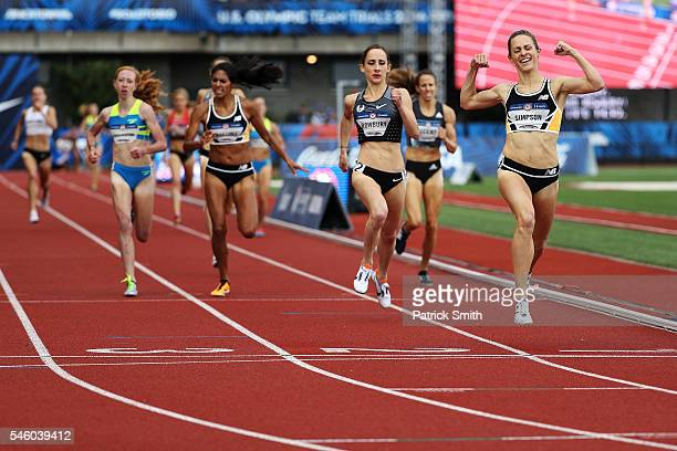 Jenny Simpson crosses the finishline to place first in the Women's 1500 Meter Final during the 2016 US Olympic Track Field Team Trials at Hayward...
