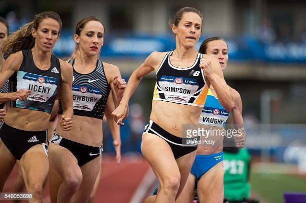 Jenny Simpson leads the women's 1500 meters with Shannon Rowbury and Morgan Uceny behind during Day 10 of the Olympic Track and Field Trials at...