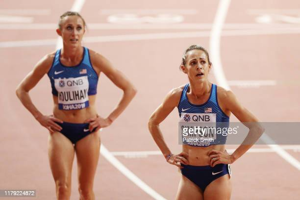 Jenny Simpson of the United States and Shelby Houlihan of the United States react after competing in the Women's 1500 metres final during day nine of...