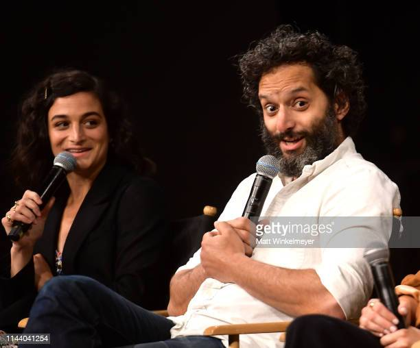 Jenny Slate and Jason Mantzoukas speak onstage at the Netflix Adult Animation QA and Reception on April 20 2019 in Hollywood California