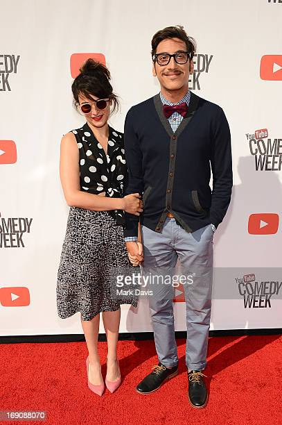 Jenny Slate and KassemG attend The Big Live Comedy Show presented by YouTube Comedy Week held at Culver Studios on May 19 2013 in Culver City...