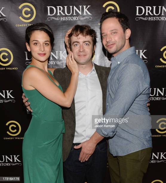 Jenny Slate Derek Waters and Nick Kroll attend Comedy Central's Drunk History Premiere Party at The Wilshire Ebell Theatre on July 8 2013 in Los...
