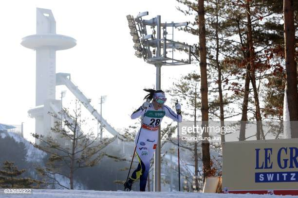 Jenny Solin of Sweden competes in the Ladie's 14 km Sprint Classic Qualification during the FIS CrossCountry World Cup presented by Viessmann Test...