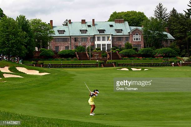 Jenny Suh hits her second shot to the ninth green during round one of the Sybase Match Play Championship at Hamilton Farm Golf Club on May 19 2011 in...