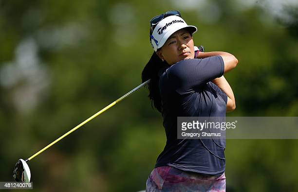 Jenny Suh watches her tee shot on the fifth hole during the third round of the Marathon Classic presented by Owens Corning and O-I at Highland...