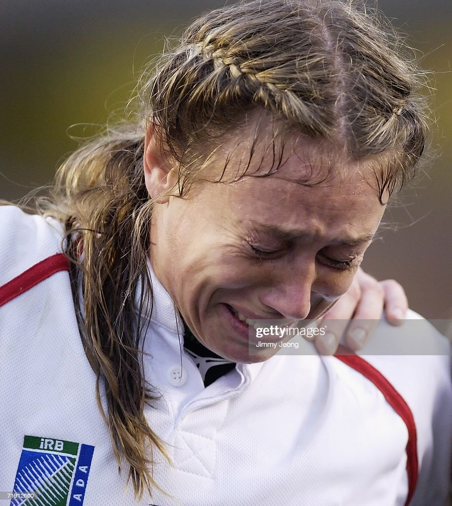 Jenny Sutton of England looks distraught after losing in the World Cup Final match against New Zealand during day six of the Women's Rugby World Cup 2006 at the Commonwealth Stadium on September 17, 2006 in Edmonton, Alberta, Canada.