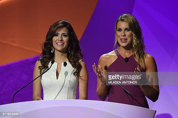 Jenny Taft and Adriana Monsalve host the draw for the Copa America Centenario 2016 championship at the Hammerstein Ballroom in New York on February...