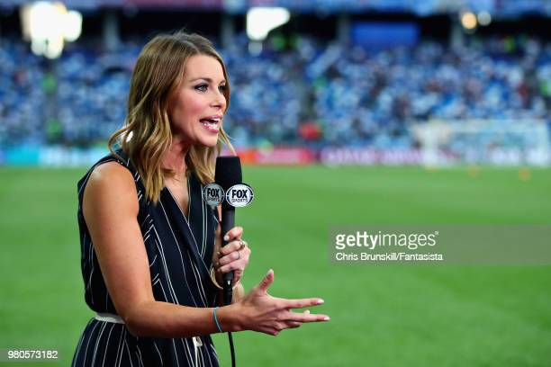 Jenny Taft of Fox Sports is seen pitchside before the 2018 FIFA World Cup Russia group D match between Argentina and Croatia at Nizhny Novgorod...