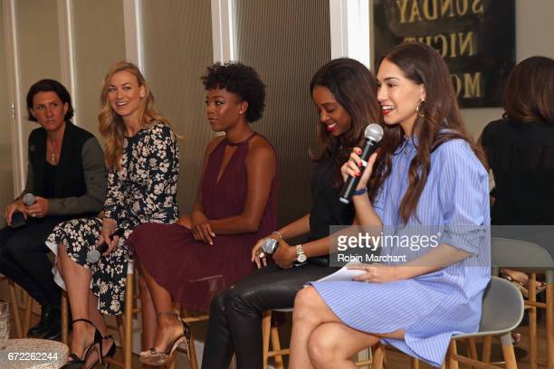 Jenny Wall Yvonne Strahovski Samira Wiley Tamika Mallory and Audrey Gelman speak on a panel during a VIP screening of the Original Series 'The...