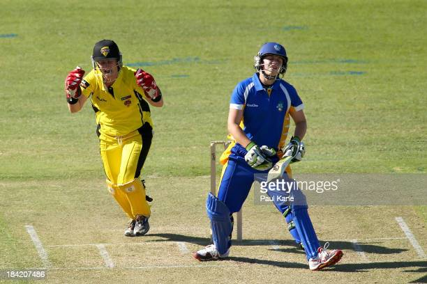 Jenny Wallace of the Fury celebrates the wicket of Kris Britt of the Meteors during the WNCL match between the Western Australia Fury and the ACT...