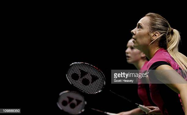 Jenny Wallwork and Gabrielle White in action during their round one match in the Yonex All England Badminton Open Championship on March 9 2011 in...