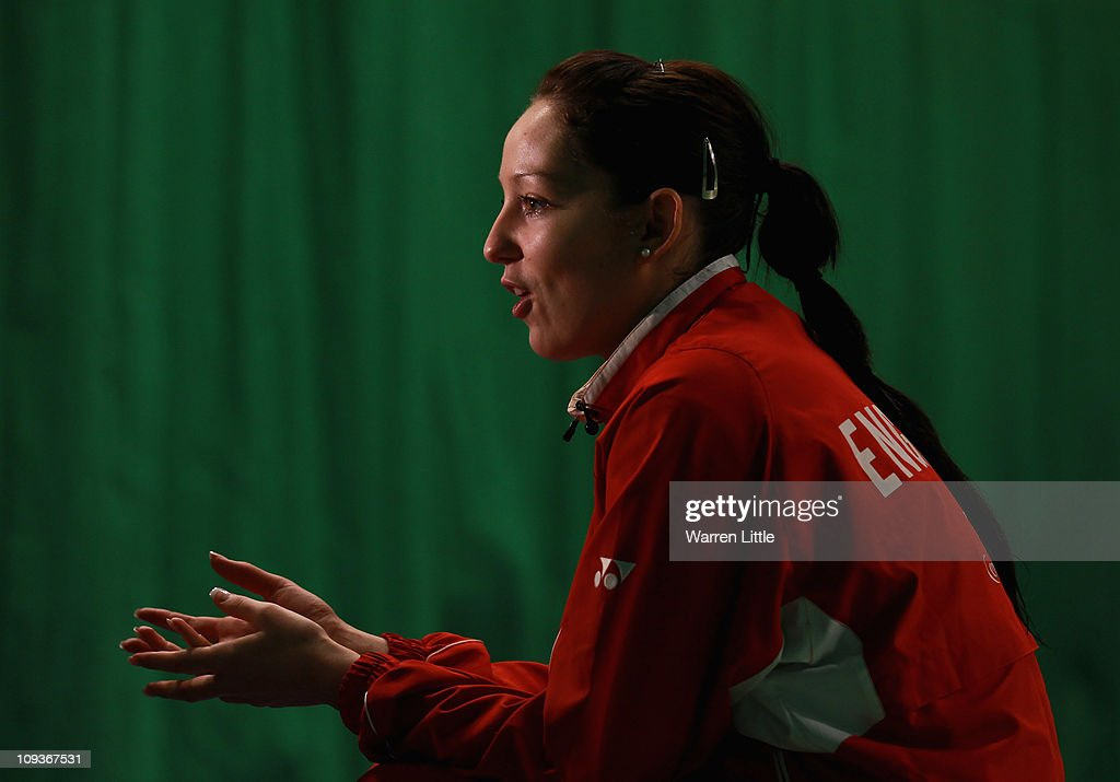 Jenny Wallwork of the England Badminton squad speaks with gathered media at the National Badminton Centre on February 23, 2011 in Milton Keynes, England.