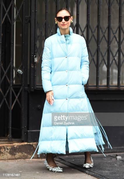 Jenny Walton is seen wearing a light blue puff coat outside the Maryam Nassir Zadeh show during New York Fashion Week: Women's Fall/Winter 2019 on...