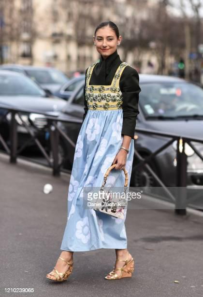 Jenny Walton is seen wearing a Miu Miu outfit outside the Miu Miu show during Paris Fashion Week: AW20 on March 03, 2020 in Paris, France.