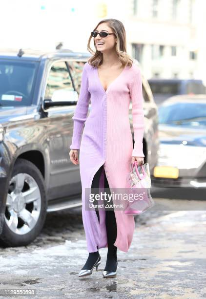 Jenny Walton is seen wearing a purple and pink dress outside the Staud show during New York Fashion Week Fall/Winter 2019 on February 13 2019 in New...