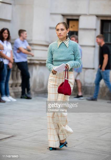Jenny Walton is seen wearing checkered pants mint knit outside Victoria Beckham during London Fashion Week September 2019 on September 15 2019 in...