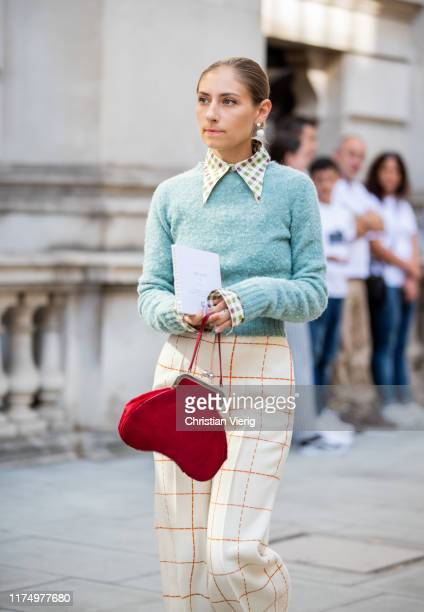 Jenny Walton is seen wearing checkered pants, mint knit outside Victoria Beckham during London Fashion Week September 2019 on September 15, 2019 in...