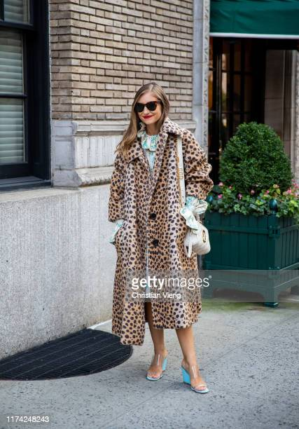 Jenny Walton is seen wearing coat with leopard print outside Marc Jacobs during New York Fashion Week September 2019 on September 11 2019 in New York...