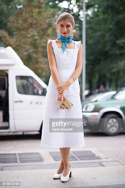 Jenny Walton poses before the Emilio Pucci show during Milan Fashion Week Spring/Summer 2017 on September 22 2016 in Milan Italy