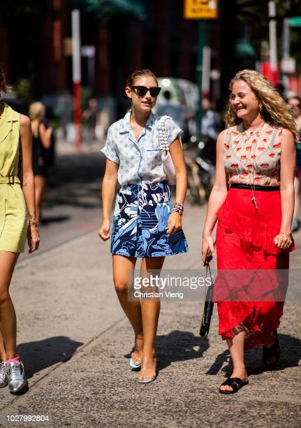 Jenny Walton wearing mini skirt with print button shirt with dots print is seen outside Collina Strada during New York Fashion Week Spring/Summer...