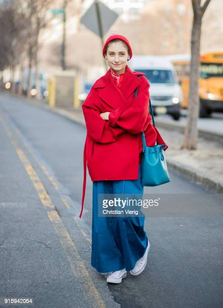 Jenny Walton wearing red coat wide leg pants seen outside Creatures of Comfort on February 8 2018 in New York City
