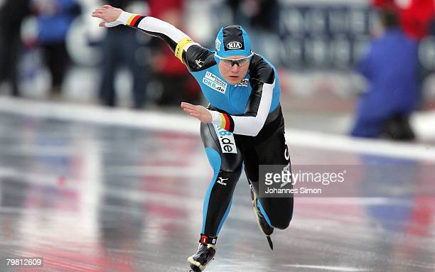 Jenny Wolf of Germany competes in the 100m heats quarter finals during Day 2 of the Essent ISU Speed Skating World Cup at the Ludwig Schwabl...