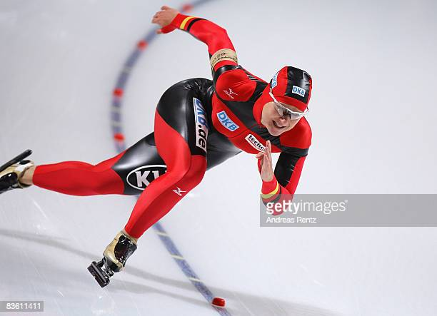 Jenny Wolf of Germany competes in the women 500 m Division A 2nd race during the Essent ISU World Cup Speed Skating on November 8 2008 in Berlin...