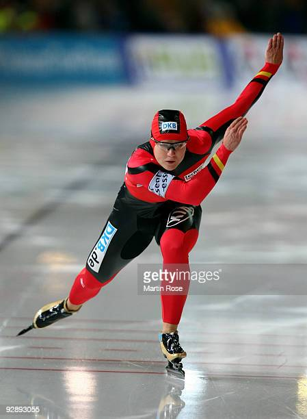 Jenny Wolf of Germany competes in the women 500 m Division A race during the Essent ISU World Cup Speed Skating on November 8 2009 in Berlin Germany