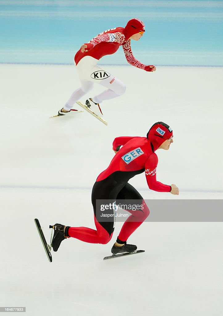 Jenny Wolf (L) of Germany starts her 500m race against Olga Fatkulina of Russia on day four of the Essent ISU World Single Distances Speed Skating Championships at the Adler Arena Skating Center on March 24, 2013 in Sochi, Russia.
