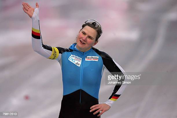 Jenny Wolf of Germany waves after winning the 100m heats during Day 2 of the Essent ISU Speed Skating World Cup at the Ludwig Schwabl Eisstadion on...