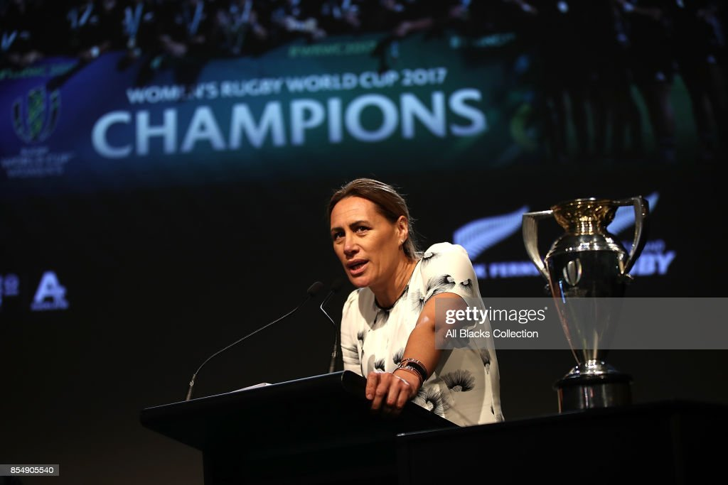 Jenny-May Clarkson speaks during the New Zealand Black Ferns celebration at Vodafone Events Centre on September 28, 2017 in Manukau City, New Zealand. The New Zealand Black Ferns continue celebrations for their 2017 Rugby World Cup win.